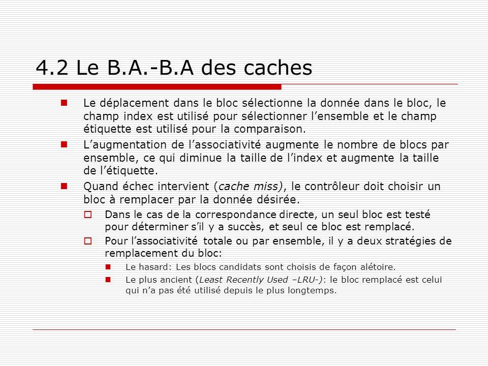 4.2 Le B.A.-B.A des caches Le déplacement dans le bloc sélectionne la donnée dans le bloc, le champ index est utilisé pour sélectionner lensemble et l