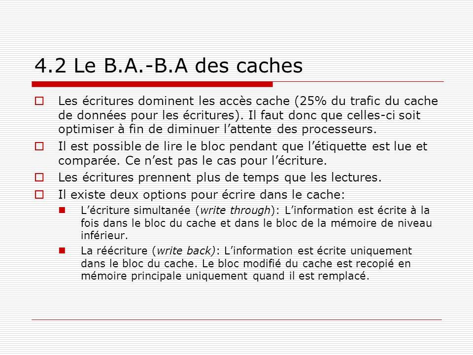 4.2 Le B.A.-B.A des caches Les écritures dominent les accès cache (25% du trafic du cache de données pour les écritures). Il faut donc que celles-ci s