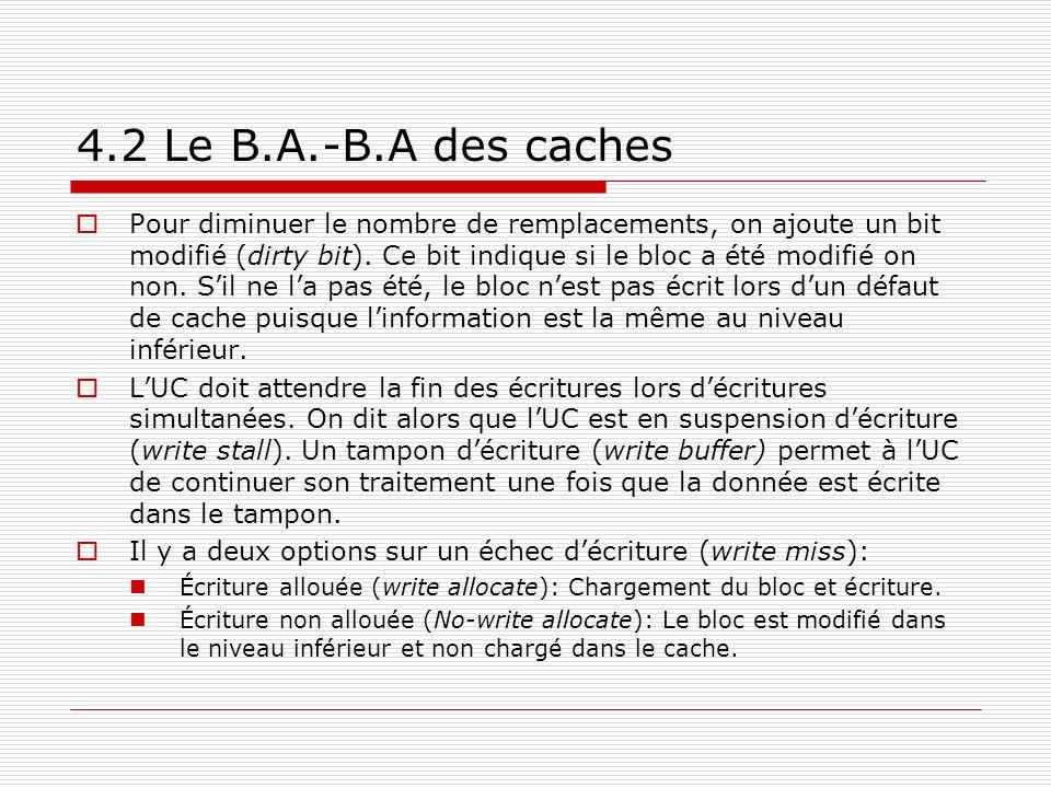 4.2 Le B.A.-B.A des caches Pour diminuer le nombre de remplacements, on ajoute un bit modifié (dirty bit). Ce bit indique si le bloc a été modifié on