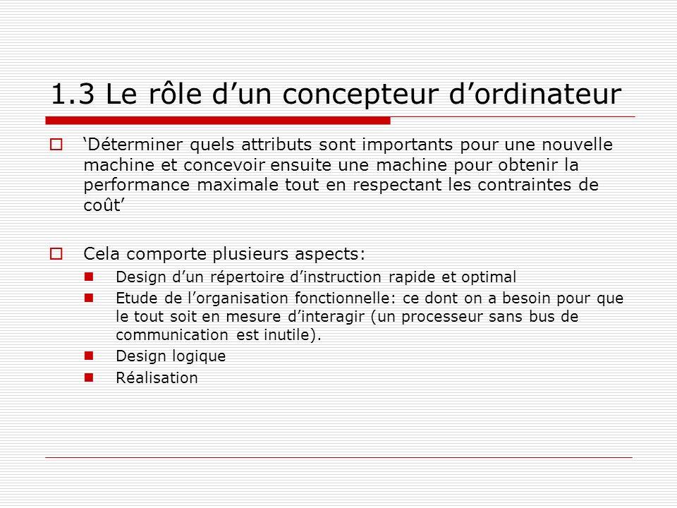 1.3 Le rôle dun concepteur dordinateur Déterminer quels attributs sont importants pour une nouvelle machine et concevoir ensuite une machine pour obte