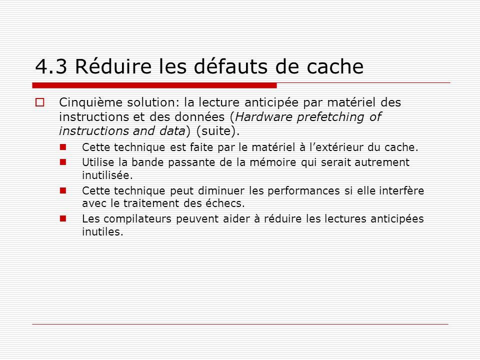 4.3 Réduire les défauts de cache Cinquième solution: la lecture anticipée par matériel des instructions et des données (Hardware prefetching of instru