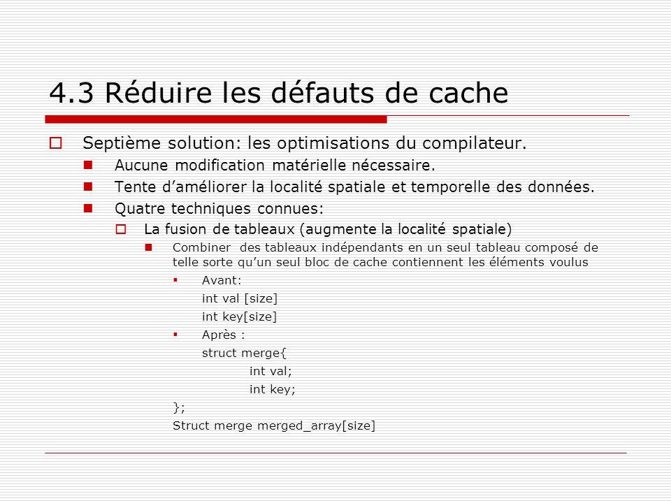 4.3 Réduire les défauts de cache Septième solution: les optimisations du compilateur. Aucune modification matérielle nécessaire. Tente daméliorer la l