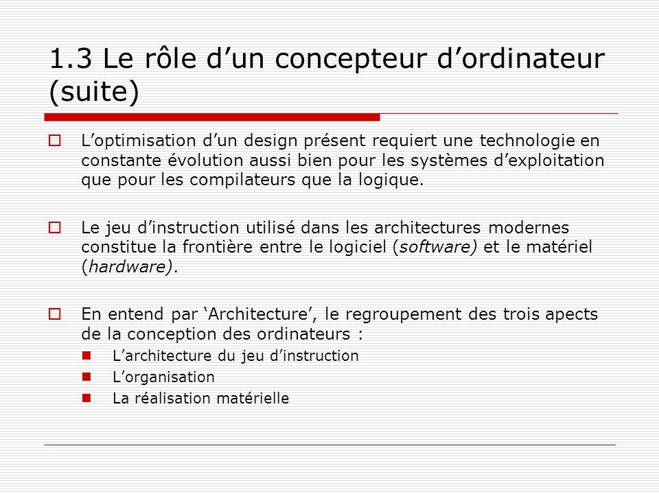 1.3 Le rôle dun concepteur dordinateur (suite) Loptimisation dun design présent requiert une technologie en constante évolution aussi bien pour les sy