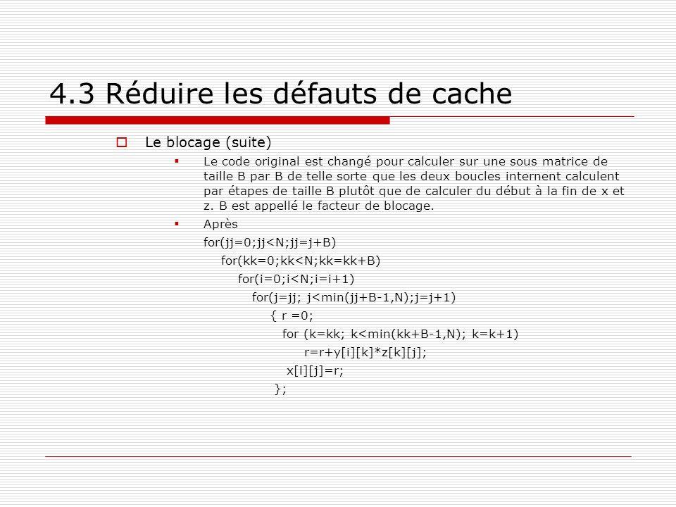 4.3 Réduire les défauts de cache Le blocage (suite) Le code original est changé pour calculer sur une sous matrice de taille B par B de telle sorte qu