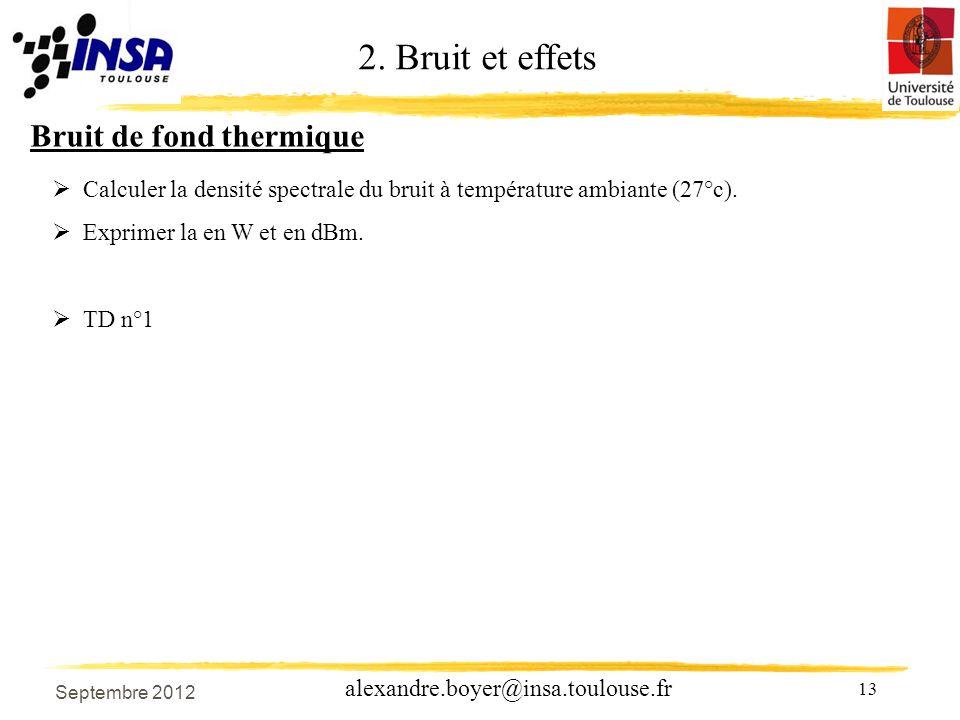 13 alexandre.boyer@insa.toulouse.fr Bruit de fond thermique Calculer la densité spectrale du bruit à température ambiante (27°c).