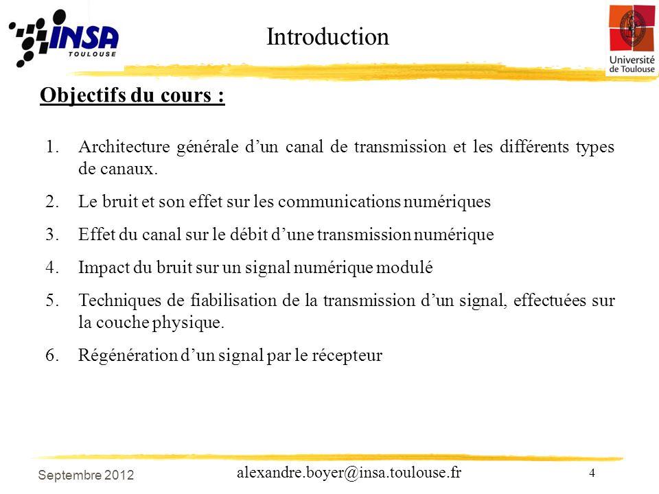 4 alexandre.boyer@insa.toulouse.fr Objectifs du cours : 1.Architecture générale dun canal de transmission et les différents types de canaux.