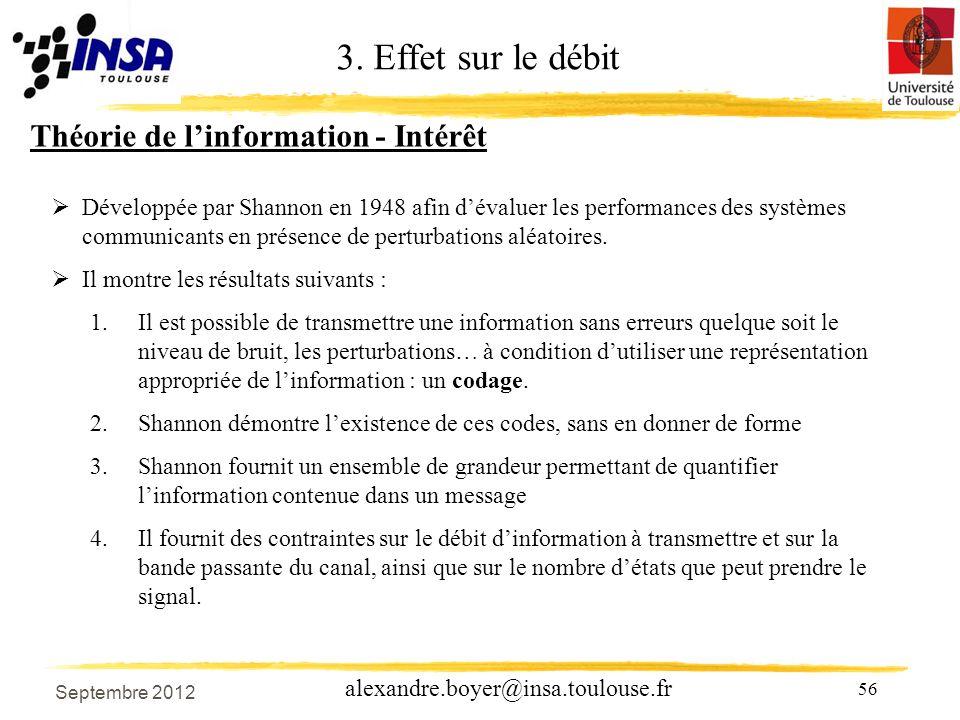 56 alexandre.boyer@insa.toulouse.fr Théorie de linformation - Intérêt Développée par Shannon en 1948 afin dévaluer les performances des systèmes communicants en présence de perturbations aléatoires.