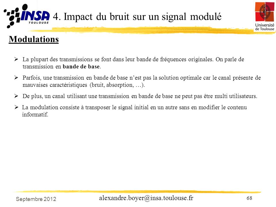 68 alexandre.boyer@insa.toulouse.fr Modulations La plupart des transmissions se font dans leur bande de fréquences originales.
