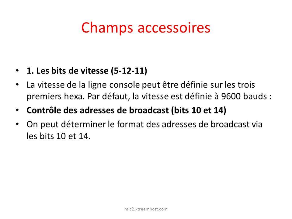ntic2.xtreemhost.com Champs accessoires 1. Les bits de vitesse (5-12-11) La vitesse de la ligne console peut être définie sur les trois premiers hexa.