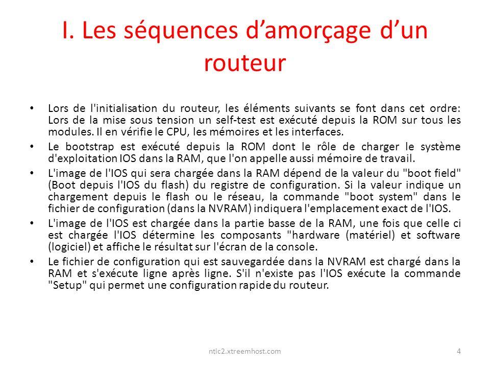 ntic2.xtreemhost.com I. Les séquences damorçage dun routeur Lors de l'initialisation du routeur, les éléments suivants se font dans cet ordre: Lors de