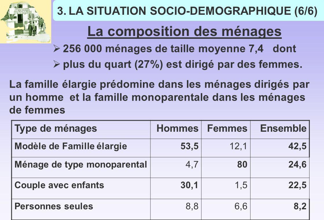 3.LA SITUATION SOCIO-DEMOGRAPHIQUE (6/6) La composition des ménages 256 000 ménages de taille moyenne 7,4 dont plus du quart (27%) est dirigé par des femmes.