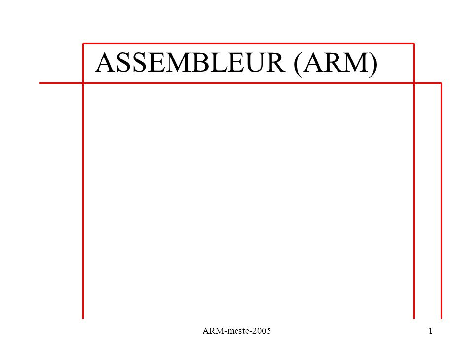 ARM-meste-200542 Instructions Arithmétiques Les flags sont mis à jour avec {S} on peut également utiliser CMP (SUBS) ou CMN (ADDS) CMP R1,#5 R1-5 : les flags sont mis à jour, résultat non stocké Utilisé avant une instruction conditionnelle (ARM) Utilisé avant un branchement conditionnel (B{cond} ou B{cond}L) Associé aux structures de contrôles REM: TST (and) et TEQ (eor) pour comparaisons logiques