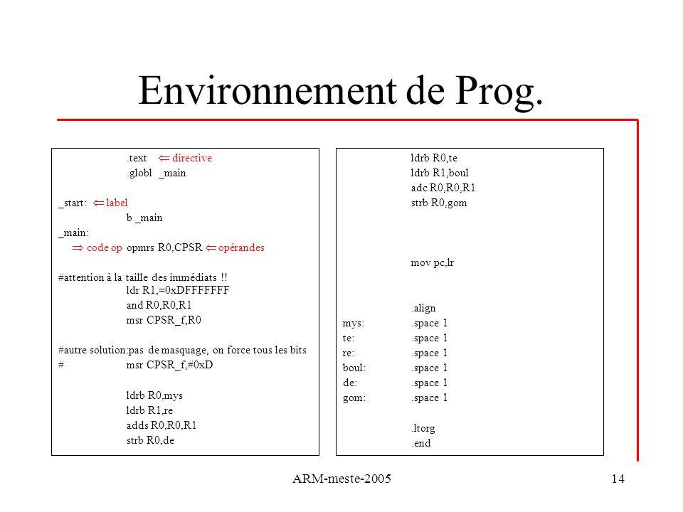 ARM-meste-200514 Environnement de Prog..text directive.globl _main _start: label b _main _main: code op opmrs R0,CPSR opérandes #attention à la taille