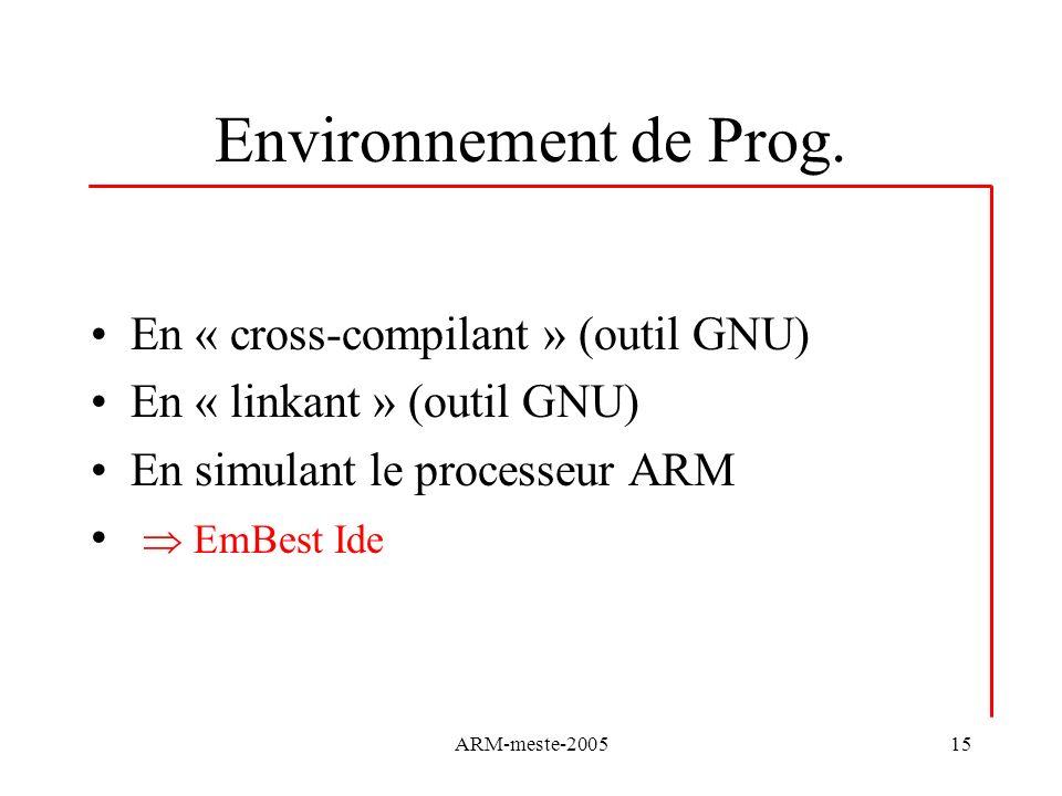 ARM-meste-200515 Environnement de Prog. En « cross-compilant » (outil GNU) En « linkant » (outil GNU) En simulant le processeur ARM EmBest Ide