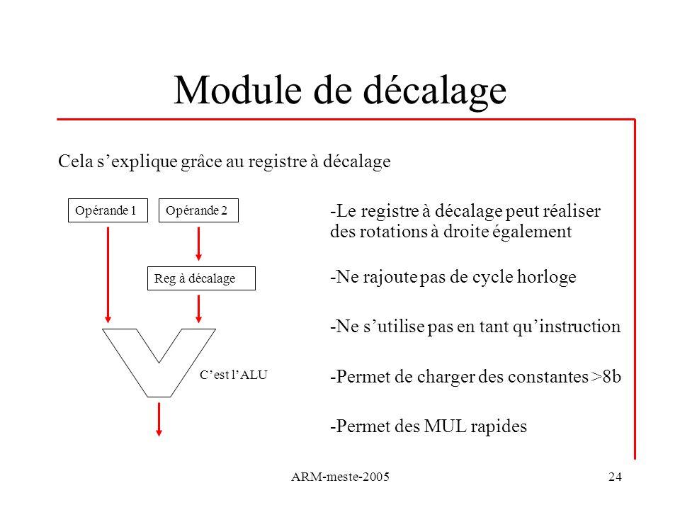 ARM-meste-200524 Module de décalage Cela sexplique grâce au registre à décalage -Le registre à décalage peut réaliser des rotations à droite également