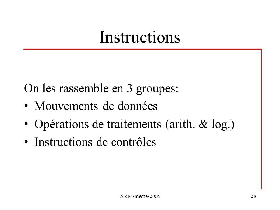 ARM-meste-200528 Instructions On les rassemble en 3 groupes: Mouvements de données Opérations de traitements (arith. & log.) Instructions de contrôles