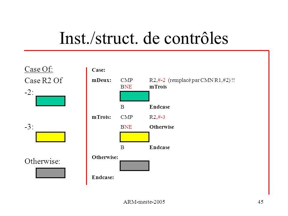 ARM-meste-200545 Inst./struct. de contrôles Case Of: Case R2 Of -2: -3: Otherwise: Case: mDeux: CMP R2,#-2 (remplacé par CMN R1,#2) !! BNE mTrois BEnd