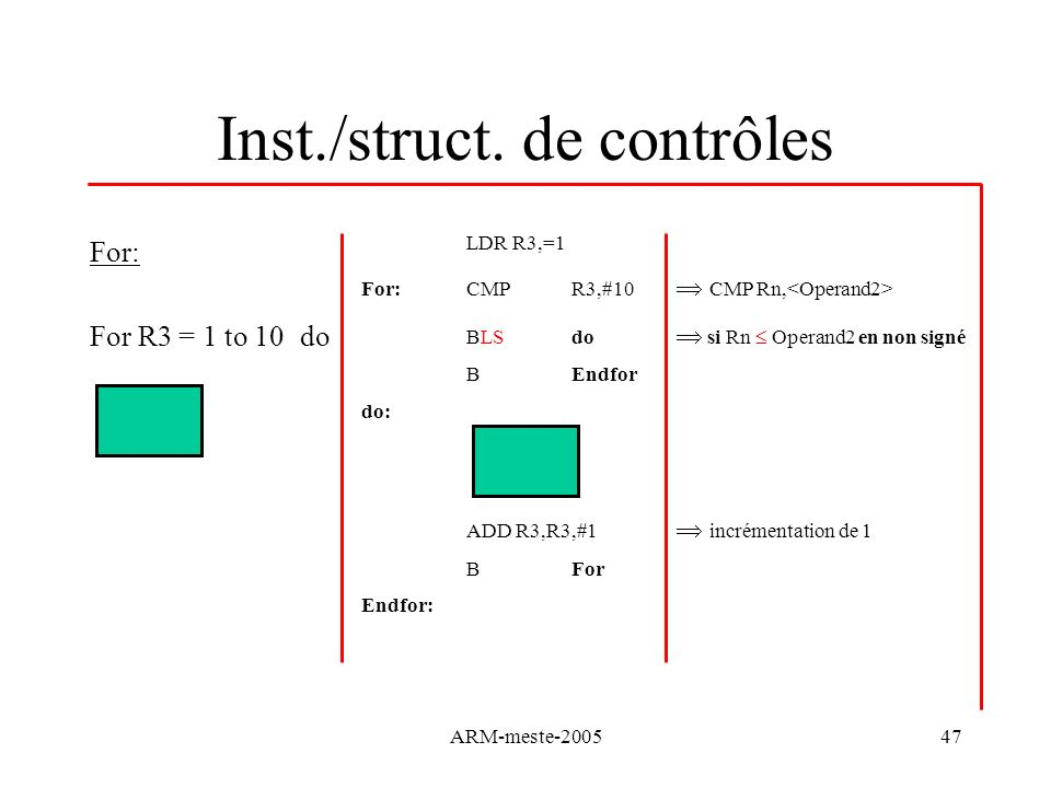 ARM-meste-200547 Inst./struct. de contrôles For: For R3 = 1 to 10do LDR R3,=1 For:CMP R3,#10 CMP Rn, BLS do si Rn Operand2 en non signé BEndfor do: AD