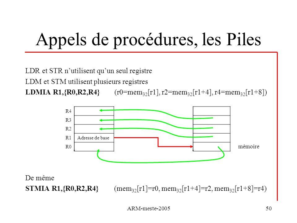 ARM-meste-200550 Appels de procédures, les Piles LDR et STR nutilisent quun seul registre LDM et STM utilisent plusieurs registres LDMIA R1,{R0,R2,R4}