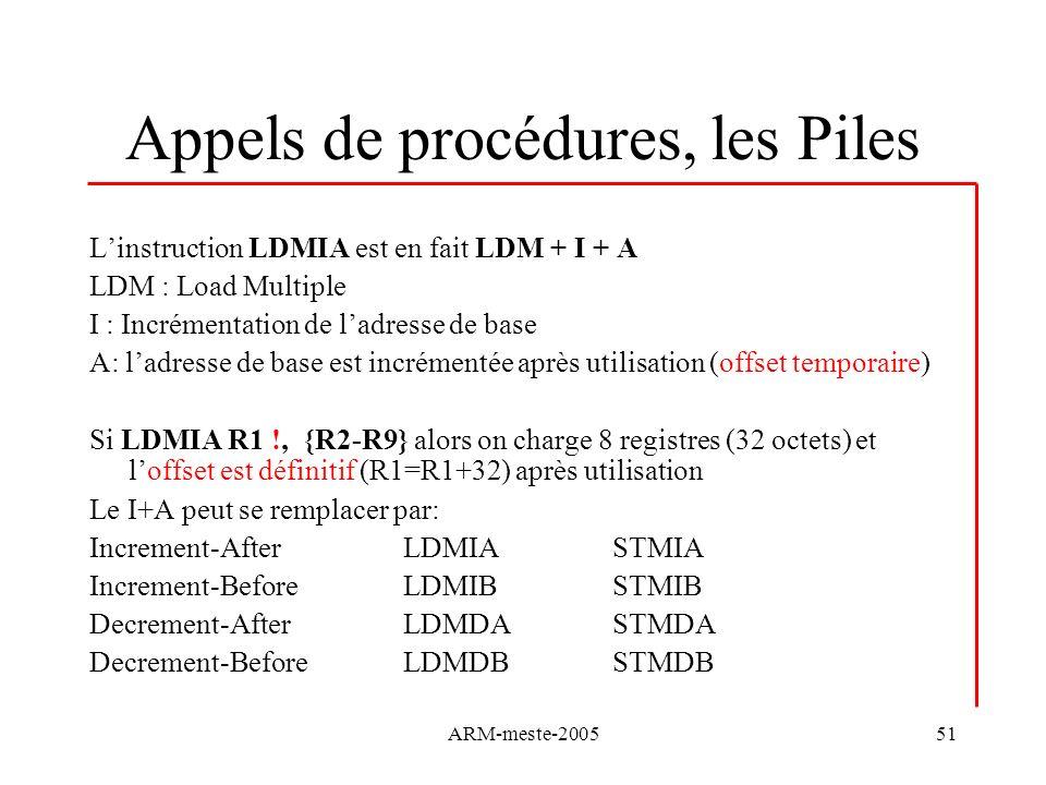 ARM-meste-200551 Appels de procédures, les Piles Linstruction LDMIA est en fait LDM + I + A LDM : Load Multiple I : Incrémentation de ladresse de base