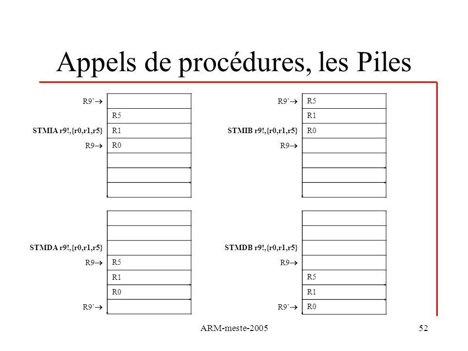 ARM-meste-200552 Appels de procédures, les Piles R9 R5 STMIA r9!,{r0,r1,r5}R1 R9 R0 R9 R5 R1 STMIB r9!,{r0,r1,r5}R0 R9 STMDA r9!,{r0,r1,r5} R9 R5 R1 R