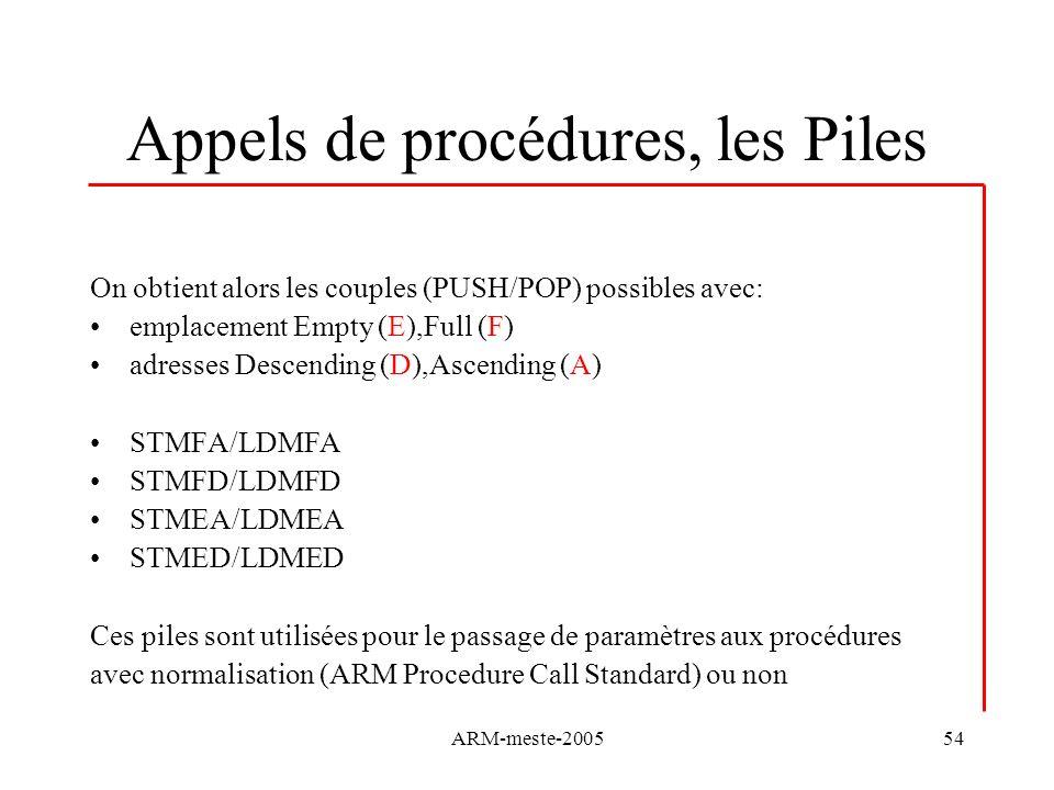 ARM-meste-200554 Appels de procédures, les Piles On obtient alors les couples (PUSH/POP) possibles avec: emplacement Empty (E),Full (F) adresses Desce