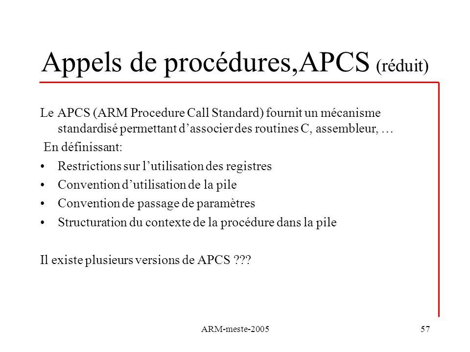 ARM-meste-200557 Appels de procédures,APCS (réduit) Le APCS (ARM Procedure Call Standard) fournit un mécanisme standardisé permettant dassocier des ro