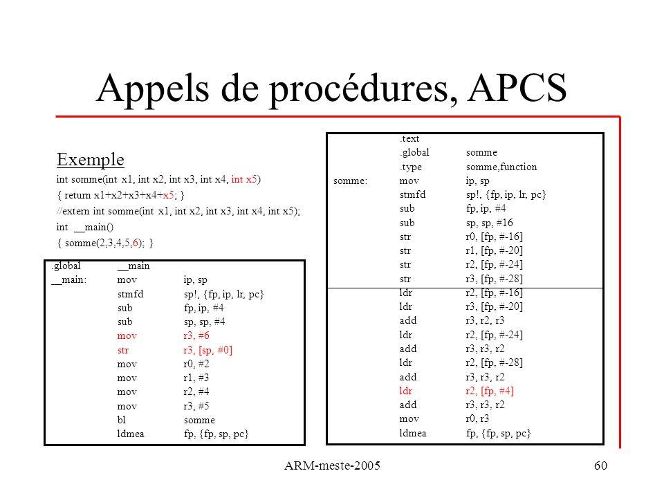 ARM-meste-200560 Appels de procédures, APCS Exemple int somme(int x1, int x2, int x3, int x4, int x5) { return x1+x2+x3+x4+x5; } //extern int somme(in