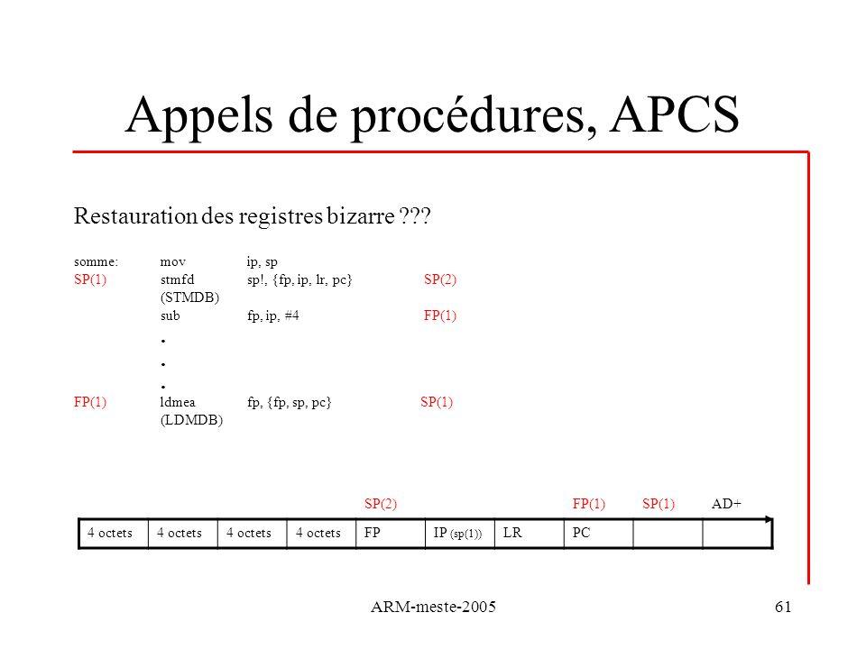 ARM-meste-200561 Appels de procédures, APCS Restauration des registres bizarre ??? somme:movip, sp SP(1) stmfdsp!, {fp, ip, lr, pc} SP(2) (STMDB) subf