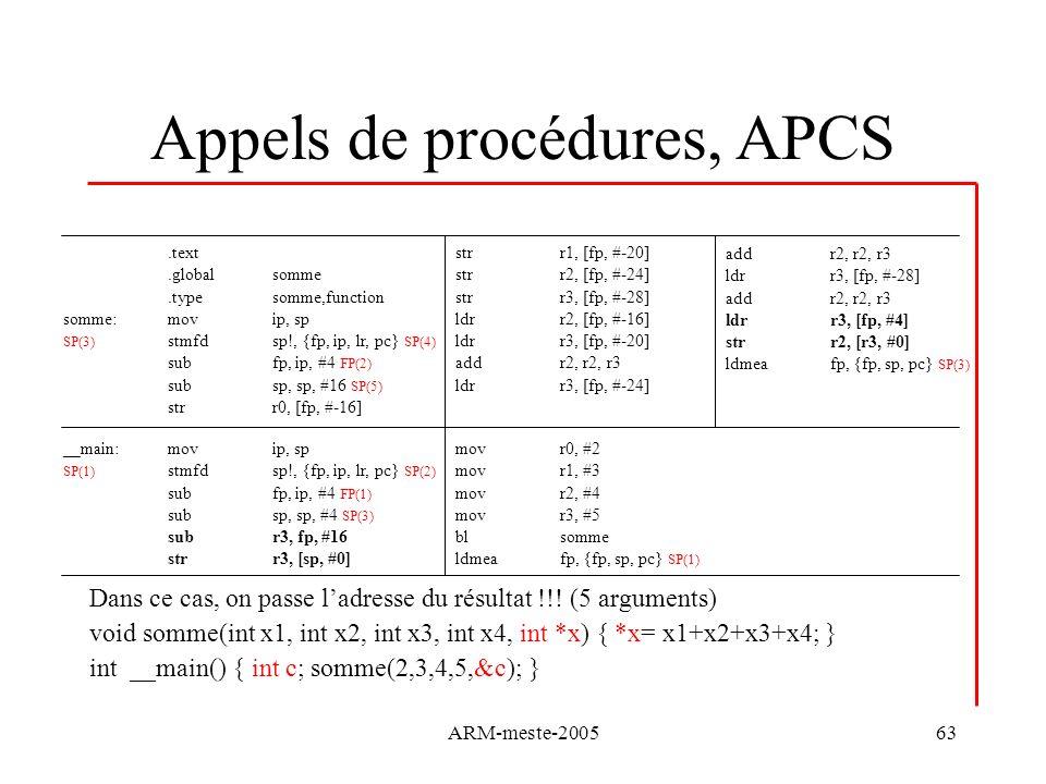 ARM-meste-200563 Appels de procédures, APCS Dans ce cas, on passe ladresse du résultat !!! (5 arguments) void somme(int x1, int x2, int x3, int x4, in
