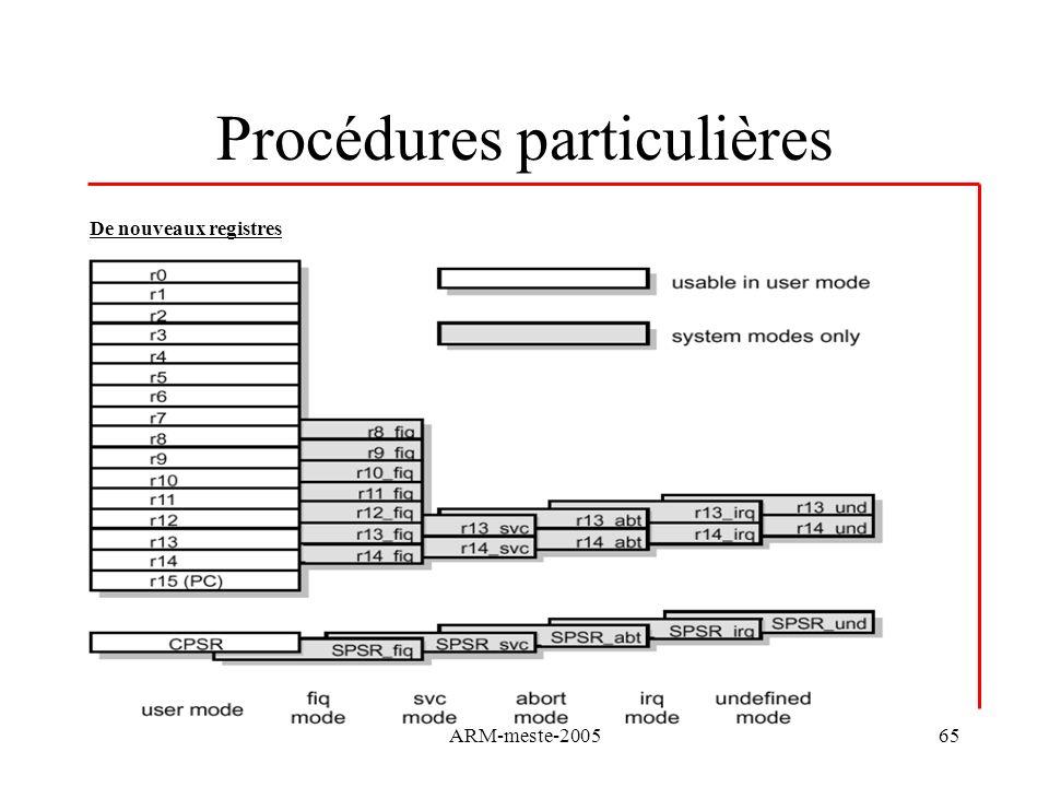 ARM-meste-200565 Procédures particulières De nouveaux registres