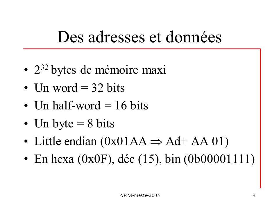 ARM-meste-200540 Instructions Arithmétiques Elles permettent laddition, la soustraction, la multiplication Elles peuvent prendre en compte le flag C (retenue) et le mettre à jour -ADD, ADC: addition, addition plus C -SUB, SBC, RSB, RSC: soustraction, soustraction –NOT(C), inversée, … SUBS R1,R2,R3 R1=R2-R3 RSBS R1,E2,R3 R1=R3-R2 -MUL, MLA: multiplication résultat 32 bits, avec accumulation (dés fois) LSL, ADD, SUB
