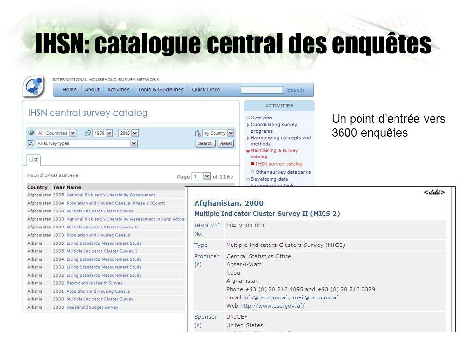 IHSN: catalogue central des enquêtes Un point dentrée vers 3600 enquêtes