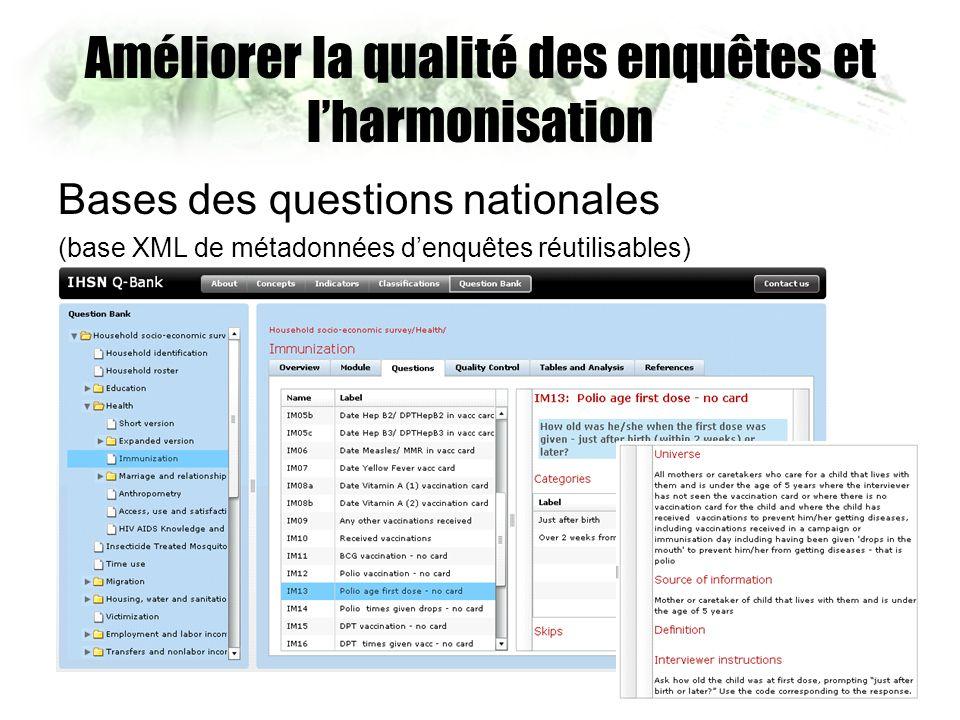 Améliorer la qualité des enquêtes et lharmonisation Bases des questions nationales (base XML de métadonnées denquêtes réutilisables)