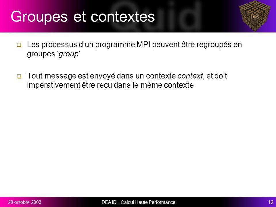 DEA ID - Calcul Haute Performance1228 octobre 2003 Groupes et contextes Les processus dun programme MPI peuvent être regroupés en groupes group Tout message est envoyé dans un contexte context, et doit impérativement être reçu dans le même contexte