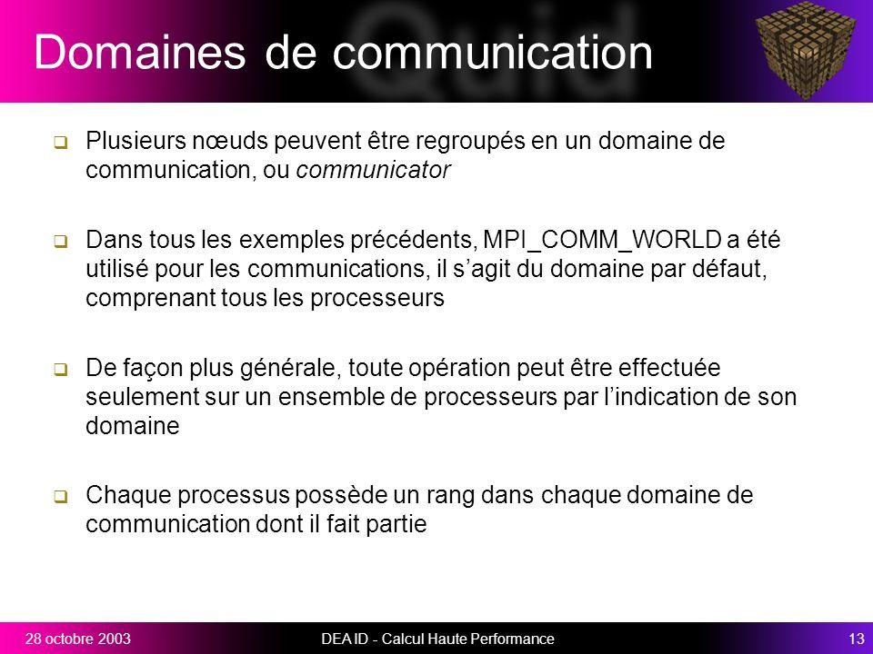 DEA ID - Calcul Haute Performance1328 octobre 2003 Domaines de communication Plusieurs nœuds peuvent être regroupés en un domaine de communication, ou communicator Dans tous les exemples précédents, MPI_COMM_WORLD a été utilisé pour les communications, il sagit du domaine par défaut, comprenant tous les processeurs De façon plus générale, toute opération peut être effectuée seulement sur un ensemble de processeurs par lindication de son domaine Chaque processus possède un rang dans chaque domaine de communication dont il fait partie