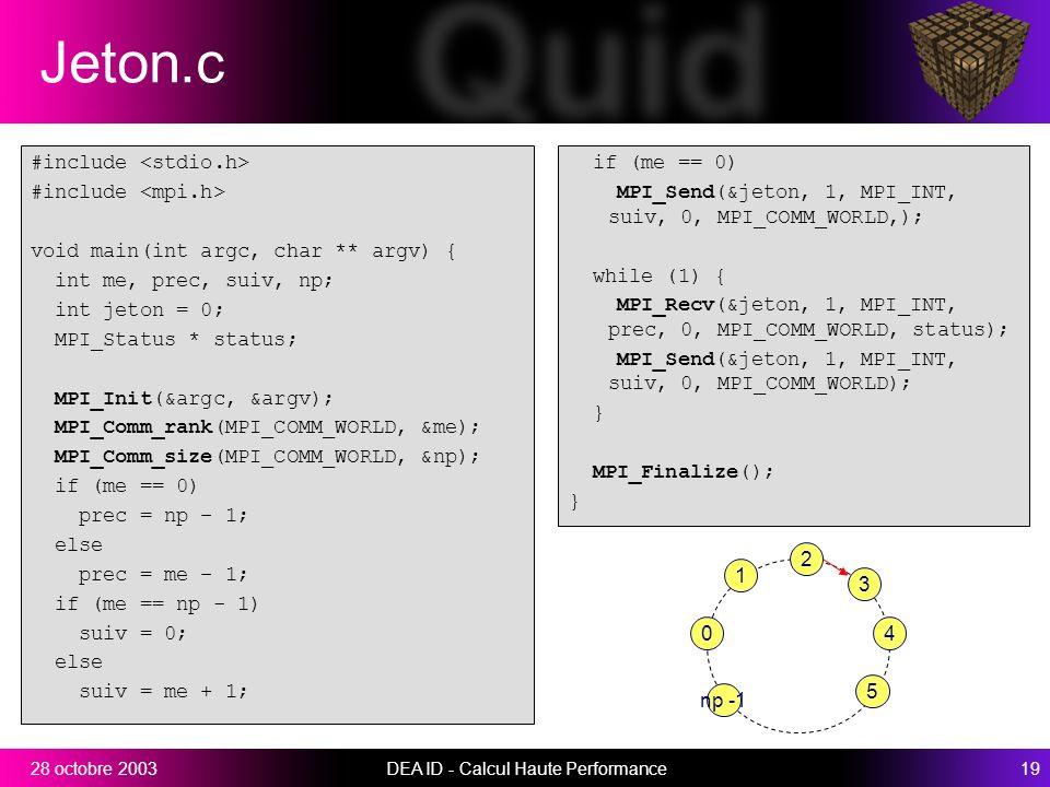 DEA ID - Calcul Haute Performance1928 octobre 2003 Jeton.c #include void main(int argc, char ** argv) { int me, prec, suiv, np; int jeton = 0; MPI_Status * status; MPI_Init(&argc, &argv); MPI_Comm_rank(MPI_COMM_WORLD, &me); MPI_Comm_size(MPI_COMM_WORLD, &np); if (me == 0) prec = np – 1; else prec = me – 1; if (me == np - 1) suiv = 0; else suiv = me + 1; if (me == 0) MPI_Send(&jeton, 1, MPI_INT, suiv, 0, MPI_COMM_WORLD,); while (1) { MPI_Recv(&jeton, 1, MPI_INT, prec, 0, MPI_COMM_WORLD, status); MPI_Send(&jeton, 1, MPI_INT, suiv, 0, MPI_COMM_WORLD); } MPI_Finalize(); } 3 4 5 2 1 0 np -1