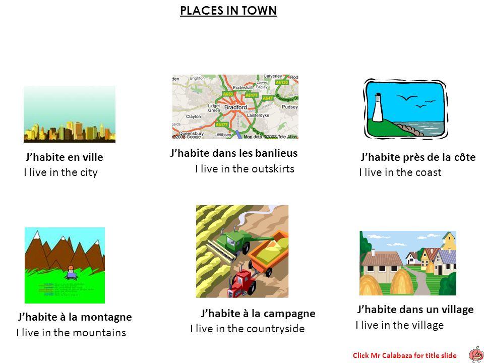 Click Mr Calabaza for title slide PLACES IN TOWN Jhabite en ville Jhabite dans les banlieus Jhabite près de la côte Jhabite à la montagne Jhabite à la