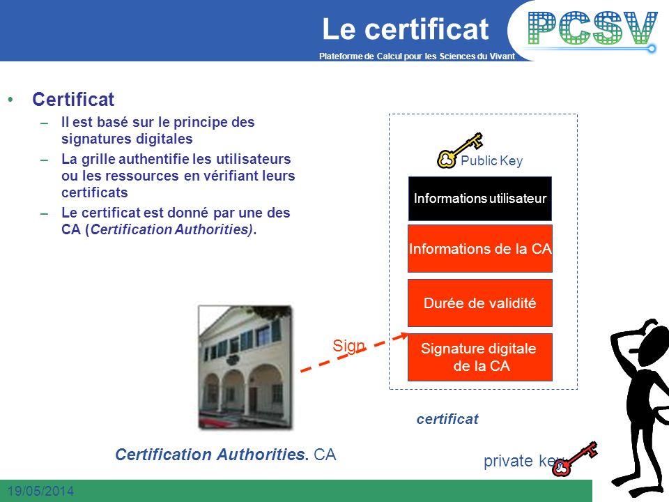 Plateforme de Calcul pour les Sciences du Vivant 10 19/05/2014 Le certificat 10 Certificat –Il est basé sur le principe des signatures digitales –La g