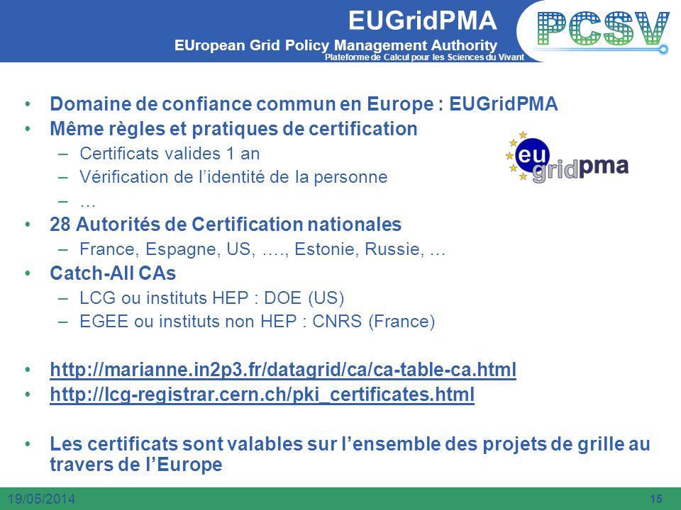 Plateforme de Calcul pour les Sciences du Vivant 15 19/05/2014 EUGridPMA EUropean Grid Policy Management Authority Domaine de confiance commun en Euro