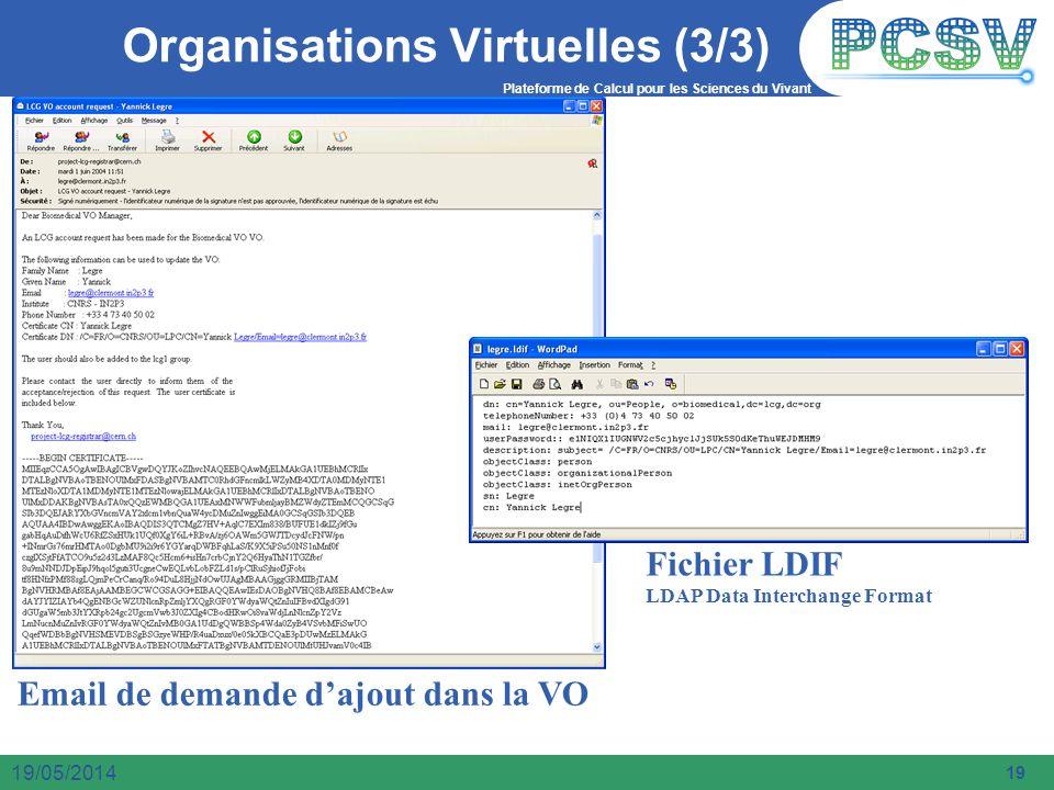 Plateforme de Calcul pour les Sciences du Vivant 19 19/05/2014 Organisations Virtuelles (3/3) Email de demande dajout dans la VO Fichier LDIF LDAP Dat