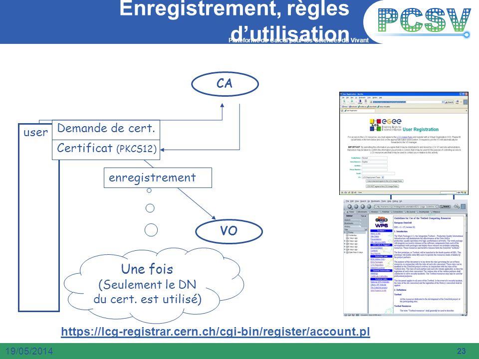 Plateforme de Calcul pour les Sciences du Vivant 23 19/05/2014 Enregistrement, règles dutilisation Une fois (Seulement le DN du cert. est utilisé) CA