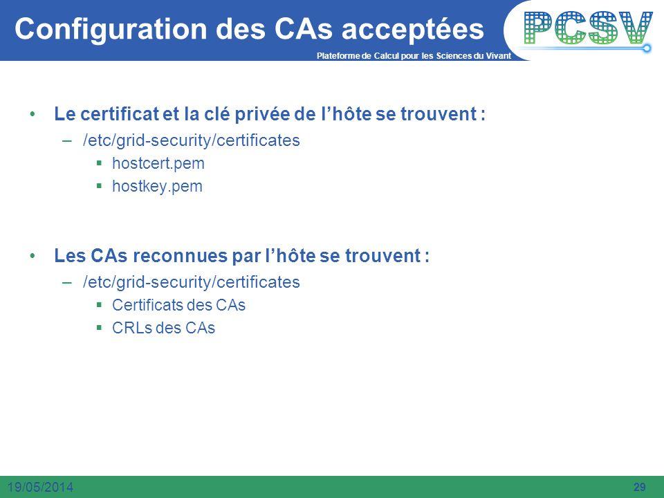 Plateforme de Calcul pour les Sciences du Vivant 29 19/05/2014 Configuration des CAs acceptées Le certificat et la clé privée de lhôte se trouvent : –