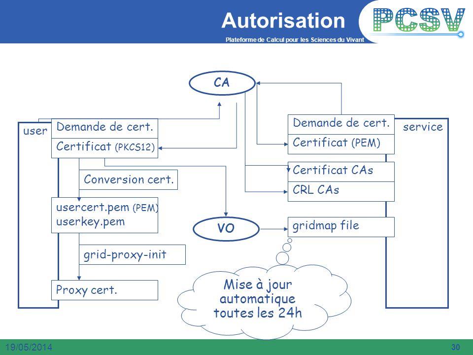 Plateforme de Calcul pour les Sciences du Vivant 30 19/05/2014 Autorisation CA VO user service Demande de cert. Certificat (PKCS12) usercert.pem (PEM)