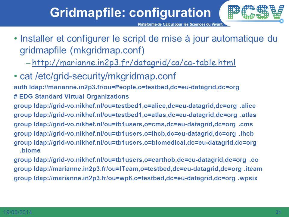 Plateforme de Calcul pour les Sciences du Vivant 31 19/05/2014 Gridmapfile: configuration Installer et configurer le script de mise à jour automatique
