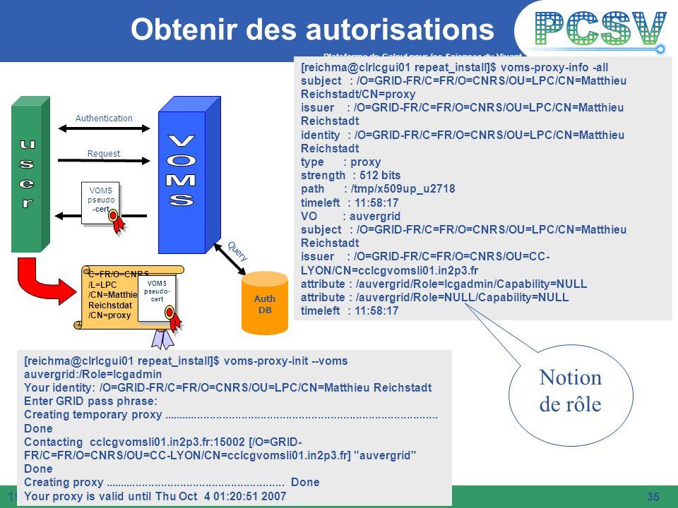 Plateforme de Calcul pour les Sciences du Vivant 35 19/05/2014 Obtenir des autorisations Query Authentication Request Auth DB C=FR/O=CNRS /L=LPC /CN=M