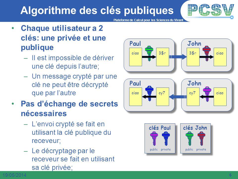 Plateforme de Calcul pour les Sciences du Vivant 6 19/05/2014 Algorithme des clés publiques Chaque utilisateur a 2 clés: une privée et une publique –I