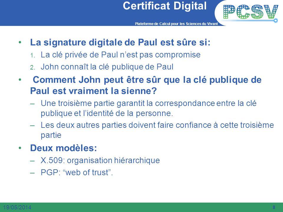 Plateforme de Calcul pour les Sciences du Vivant 8 19/05/2014 Certificat Digital La signature digitale de Paul est sûre si: 1. La clé privée de Paul n