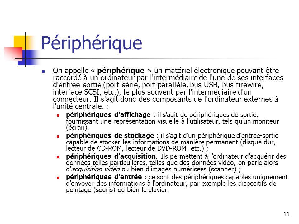 11 Périphérique On appelle « périphérique » un matériel électronique pouvant être raccordé à un ordinateur par l'intermédiaire de l'une de ses interfa