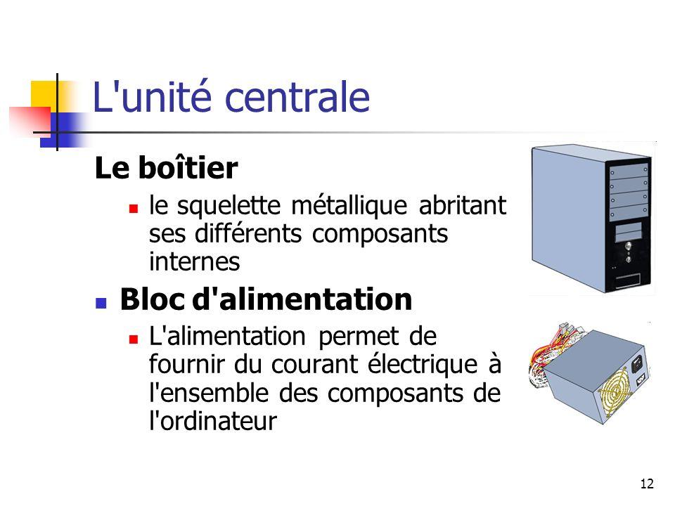 12 L'unité centrale Le boîtier le squelette métallique abritant ses différents composants internes Bloc d'alimentation L'alimentation permet de fourni